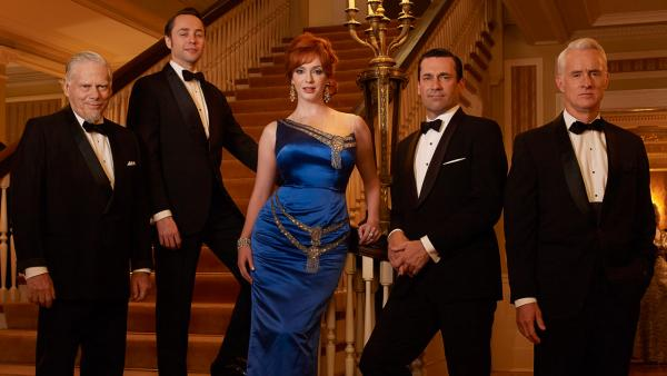 Robert Morse, Vincent Kartheiser, Christina Hendricks, Jon Hamm and John Slattery appear in an undated promotional photo for Mad Men season 6 in 2013. - Provided courtesy of Frank Ockenfels / AMC