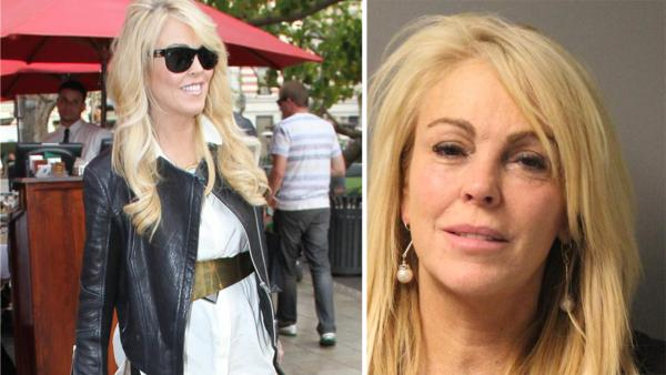 Dina Lohan is seen at the Grove shopping center in Los Angeles on Feb. 1, 2013. / Dina Lohan appears in a New York State Police mug shot taken after her Sept. 12, 2013 DWI arrest. - Provided courtesy of Charlie Luciano / Startraksphoto.com / New York State Police