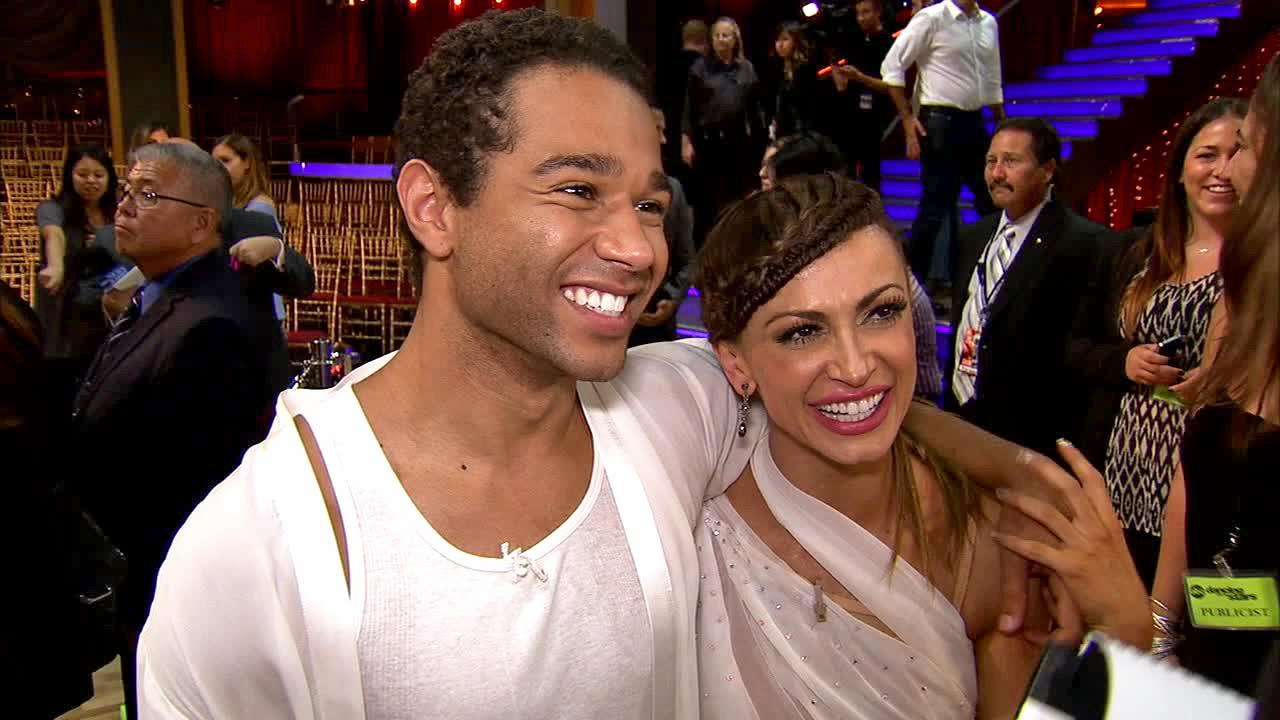 Corbin Bleu and Karina Smirnoff talk to OTRC.com after week 1 on Dancing With The Stars on Sept. 16, 2013.