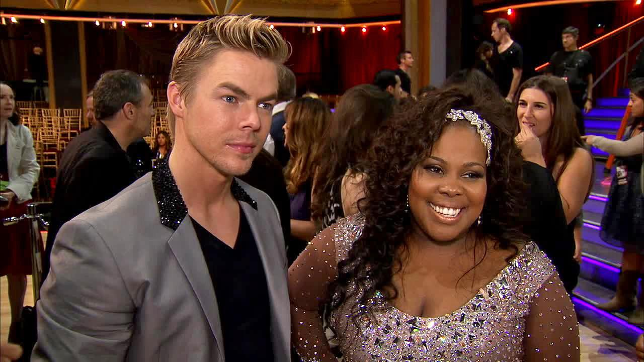 Amber Riley and Derek Hough talk to OTRC.com after week 1 on Dancing With The Stars on Sept. 16, 2013.