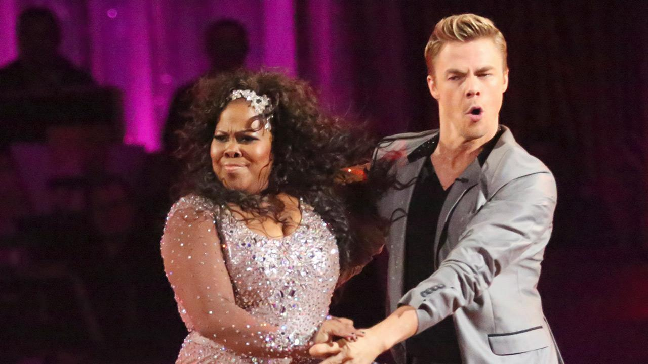 Amber Riley and Derek Hough dance the Cha Cha Cha on week one of Dancing With The Stars on Sept. 16, 2013. They received 27 out of 30 points from the judges.ABC Photos / Adam Taylor
