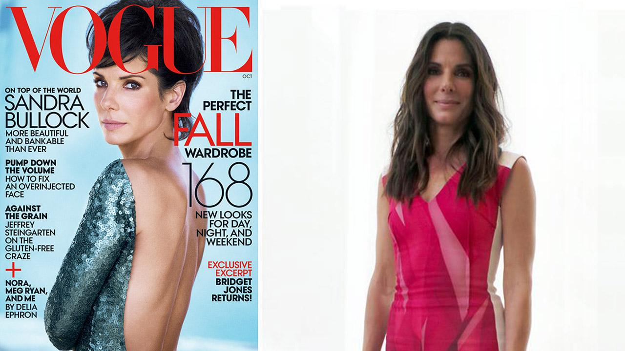 Sandra Bullock appears on the cover of Vogue magazines October 2013 issue.