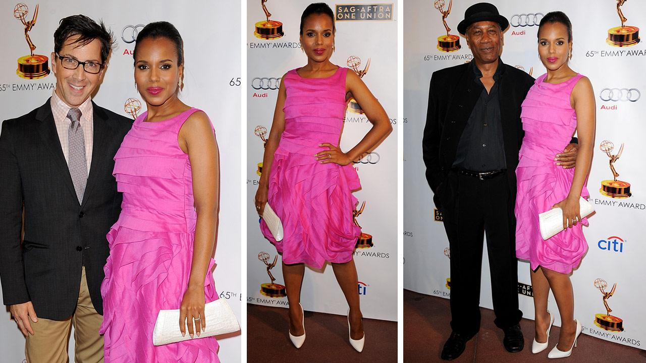 Kerry Washington arrives at the Academy of Television Arts and Sciences Dynamic and Diverse 65th Emmy Awards Nominee Celebration in North Hollywood, California on Sept. 17, 2013.