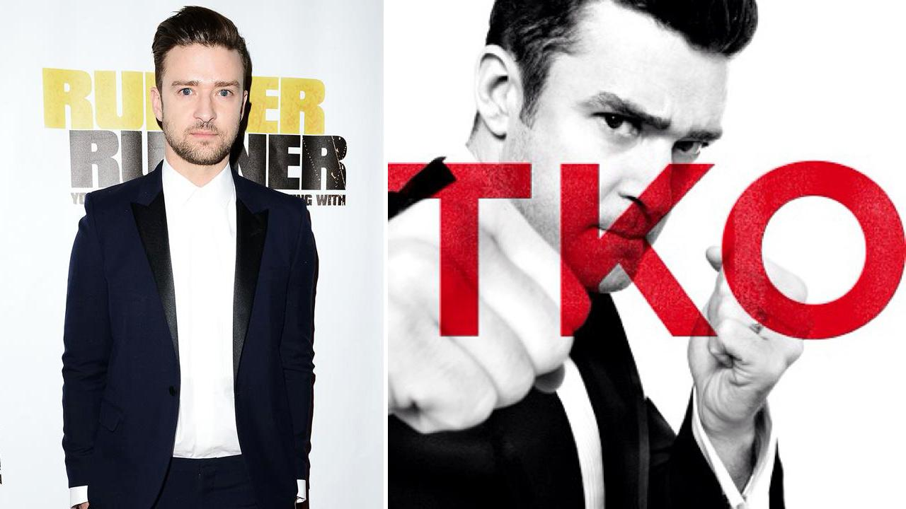 Justin Timberlake appears at the Las Vegas premiere of Runner, Runner on Sept. 18. 2013. / Timberlake appears on the cover of his TKO single released on Sept. 19, 2013.
