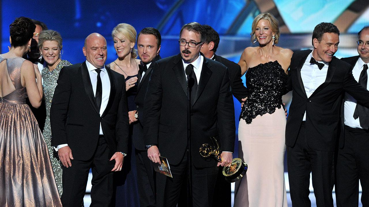 Vince Gilligan, center, and the cast and crew of Breaking Bad accept the award for Outstanding Drama Series at the 65th Primetime Emmy Awards at Nokia Theatre on Sunday Sept. 22, 2013, in Los Angeles.