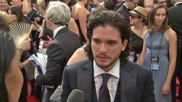 Kit Harington (Jon Snow from Game of Thrones) talks to OTRC.com on the red carpet at the 2013 Primetime Emmy Awards in Los Angeles on Sept. 22, 2013.