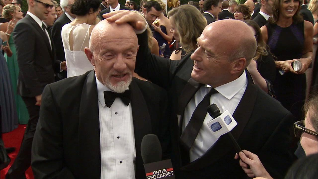Breaking Bad stars Jonathan Banks (Mike), Dean Norris (Hank) have a bald head showdown during an interview with OTRC.com at the 2013 Emmy Awards on Sept. 22, 2013.