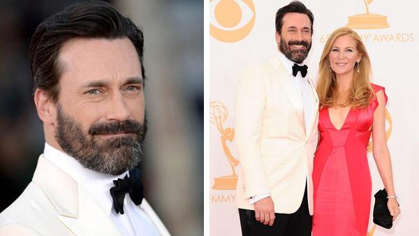 Jon Hamm and wife Jennifer Westfeldt appear at the 65th annual Primetime Emmy Awards in Los Angeles, California on Sept. 22, 2013. - Provided courtesy of Lionel Hahn / abacausa / Kyle Rover / startraksphoto.com