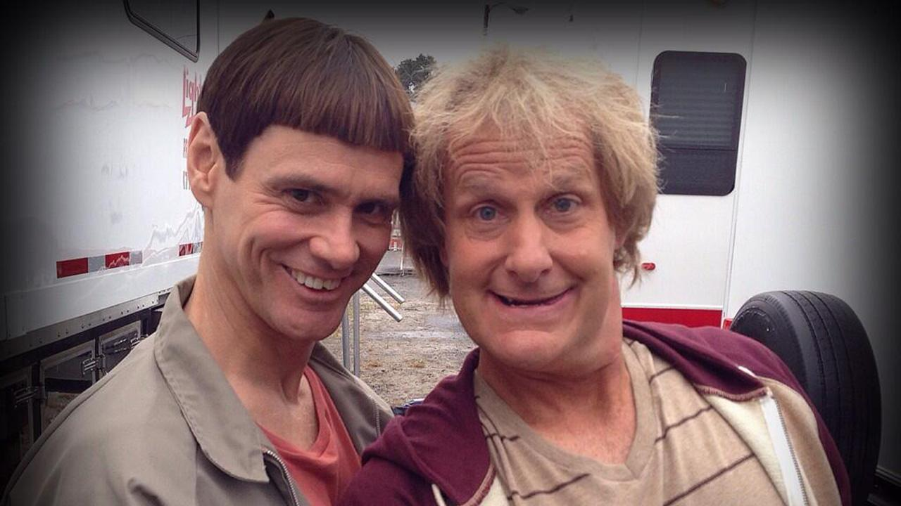 Jim Carrey and Jeff Daniels appear as Lloyd and Harry from the Dumb and Dumber sequel, Dumb and Dumber To, as seen in a photo posted on Daniels Twitter page on Sept. 24, 2013.
