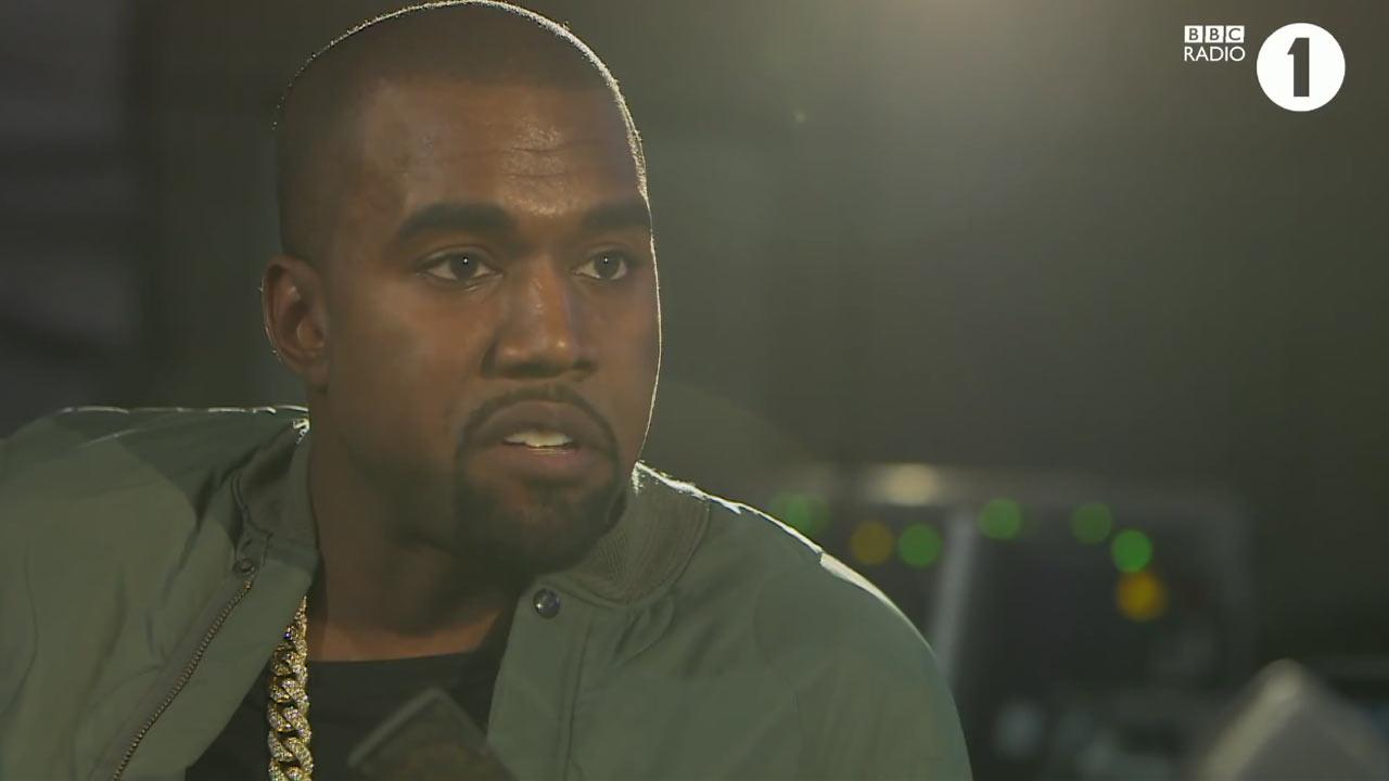 Kanye West appears in an interview with BBC Radio 1 on their official Youtube page on Sept. 24, 2013.