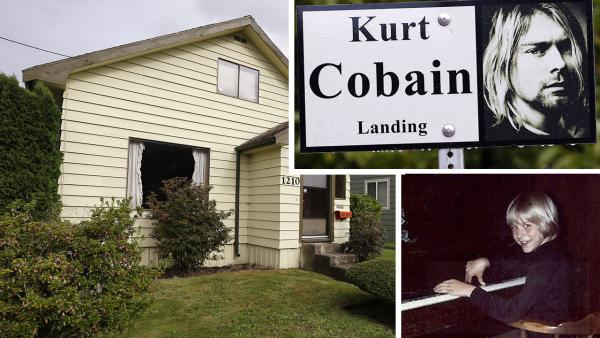 In this photo taken on Sept. 23, 2013, Kurt Cobains child hood home is seen in Aberdeen, Washington. / In this undated photo provided by Kim Cobain, a young Kurt Cobain plays piano in his childhood home. - Provided courtesy of AP Photo / Elaine Thompson / Courtesy of Kim Cobain