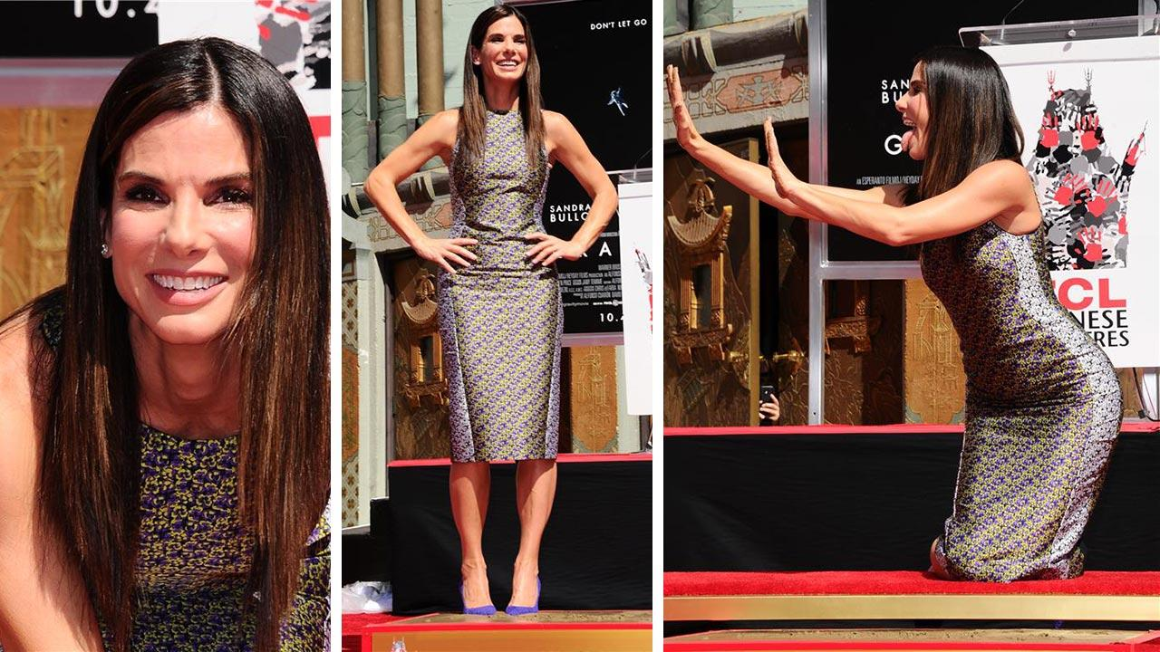 Sandra Bullock appears at her hand and footprint ceremony at the TCL Chinese Theatre in Hollywood on Sept. 25, 2013.