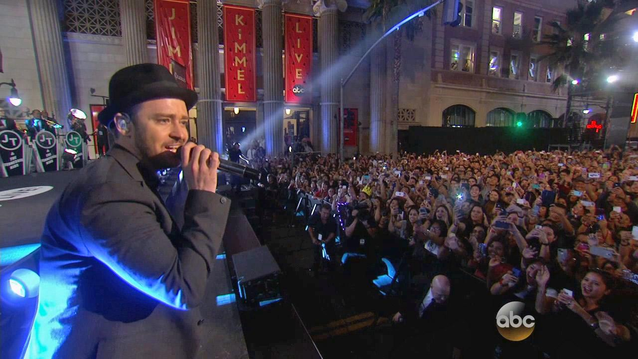 Justin Timberlake performs on the streets of Hollywood, California for ABCs Jimmy Kimmel Live! on Sept. 24, 2013.