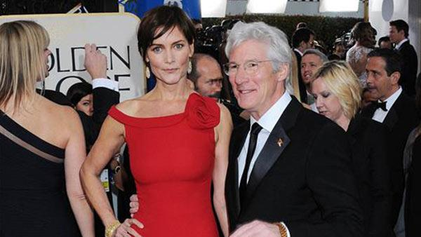 Richard Gere and wife Carey Lowell appear at the 2013 Golden Globe Awards in Beverly Hills, California on Jan. 13, 2013. - Provided courtesy of Sara De Boer / Startraksphoto.com
