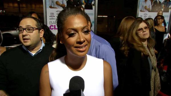 La La Anthony appears at the Baggage Claim premiere in Los Angeles, California.