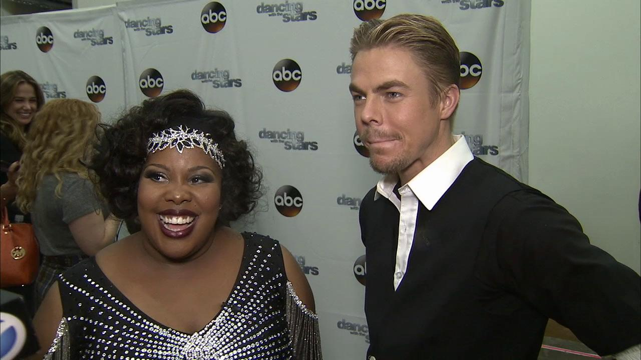 Amber Riley and Derek Hough talk to OTRC.com after week 3 on Dancing With The Stars on Sept. 30, 2013.