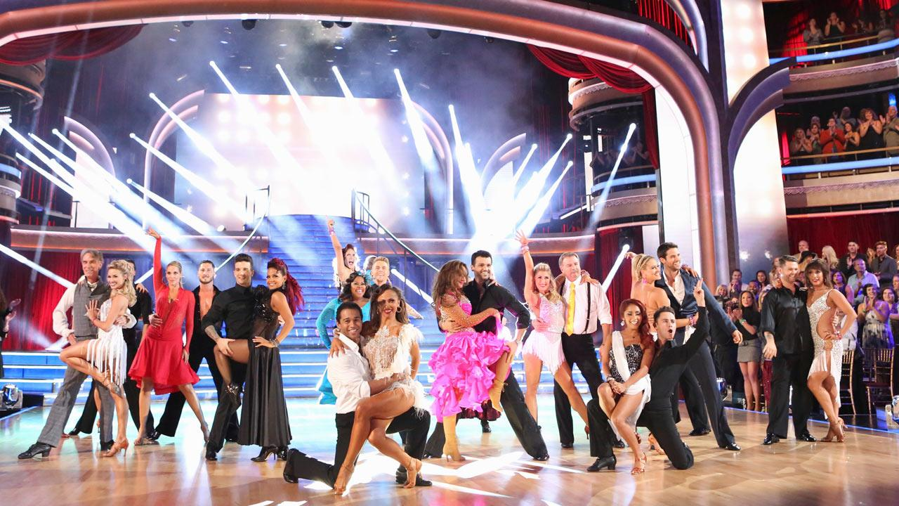 The cast of Dancing With The Stars season 17 appears on the show on Sept. 23, 2013.