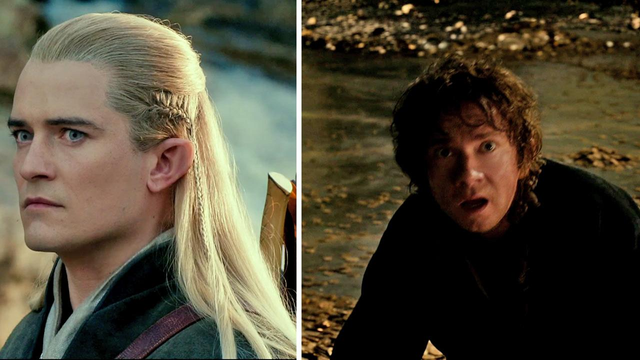 Orlando Bloom appears as Legolas and Martin Freeman appears as Bilbo Baggins in scenes from the 2013 movie The Hobbit: The Desolation of Smaug.