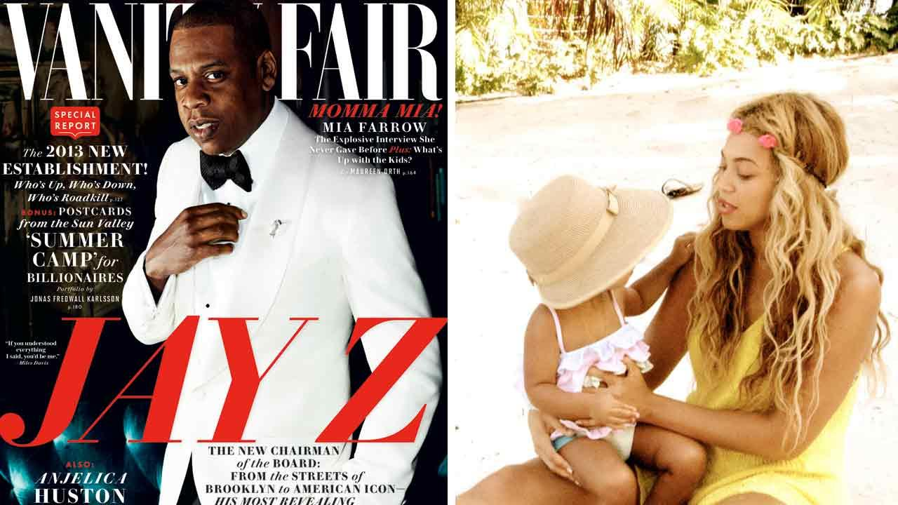 Jay-Z appears on the cover of the November 2013 issue of Vanity Fair. Beyonce appears with daughter Blue Ivy in an undated photo posted on her official Tumblr page.