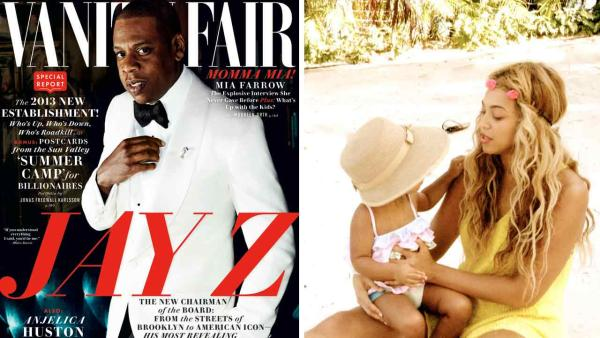 Jay-Z appears on the cover of the November 2013 issue of Vanity Fair. Beyonce appears with daughter Blue Ivy in an undated photo posted on her official Tumblr page. - Provided courtesy of Mario Testino / Vanity Fair / iam.beyonce.com/post/55332125093