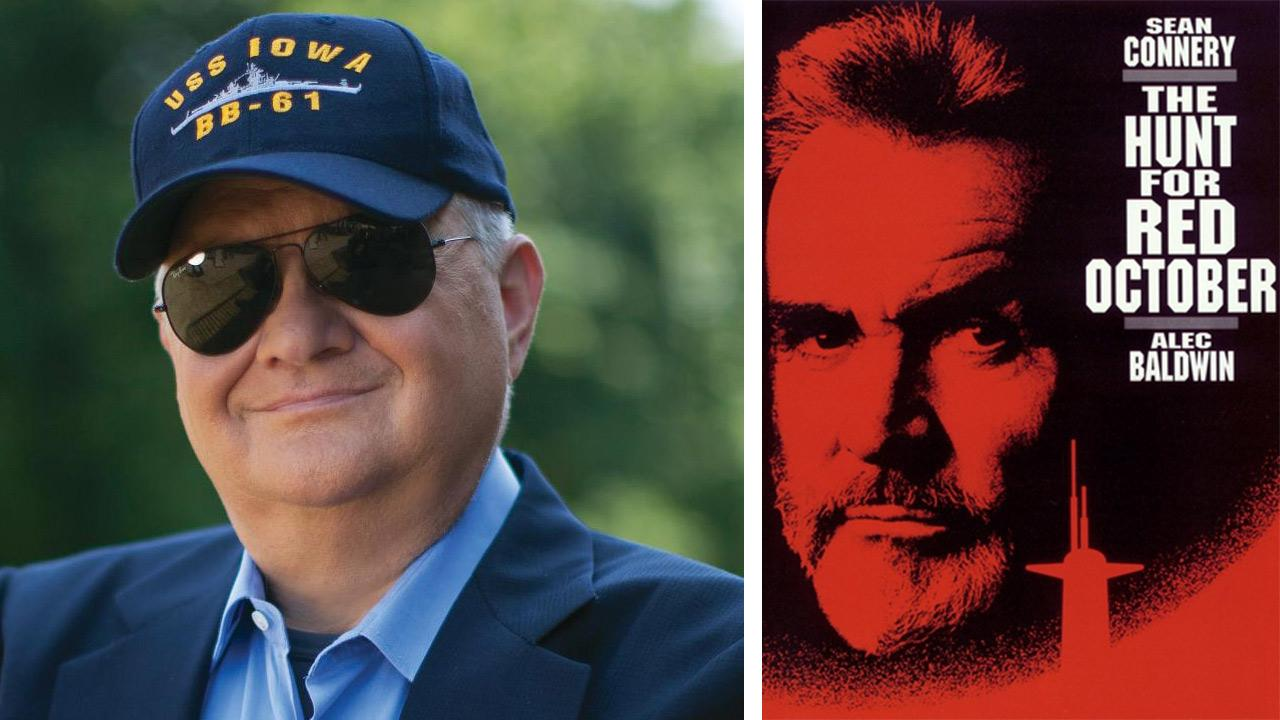 Tom Clancy appears in an undated publicity photo. / The official poster for the 1990 film The Hunt For Red October.