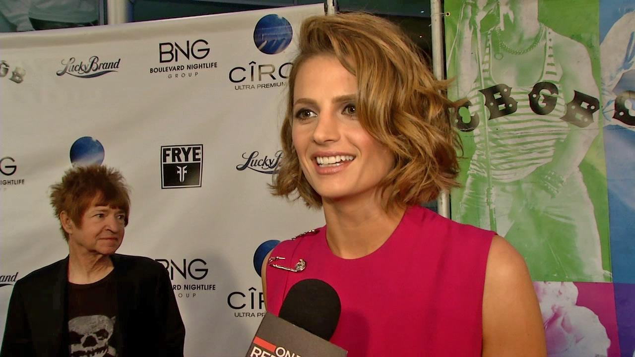 Stana Katic of ABCs Castle talks to OTRC.com at the premiere of the movie CBGB in Los Angeles on Oct. 1, 2013.