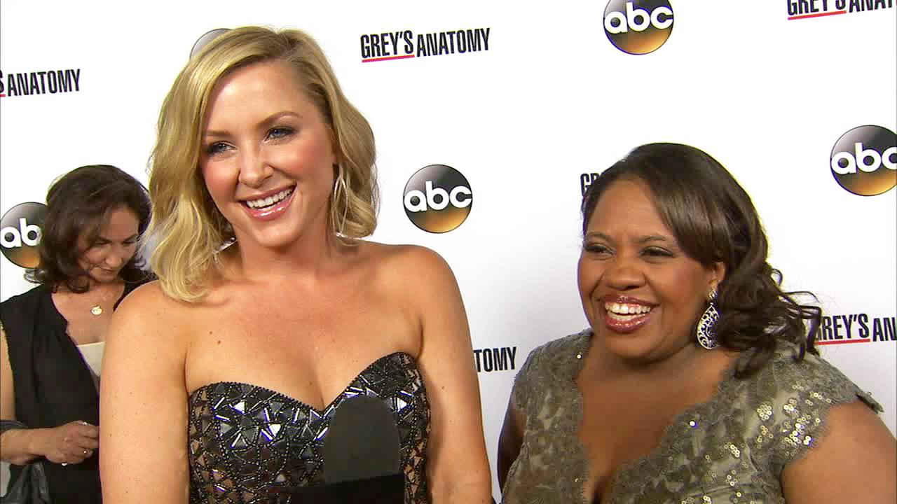Chandra Wilson and Jessica Capshaw appear at the Greys Anatomy 200th episode party in Hollywood on Sept. 28, 2013.