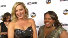 Chandra Wilson and Jessica Capshaw appear at the Greys Anatomy 200th episode party in Hollywood on Sept. 28, 2013. - Provided courtesy of OTRC
