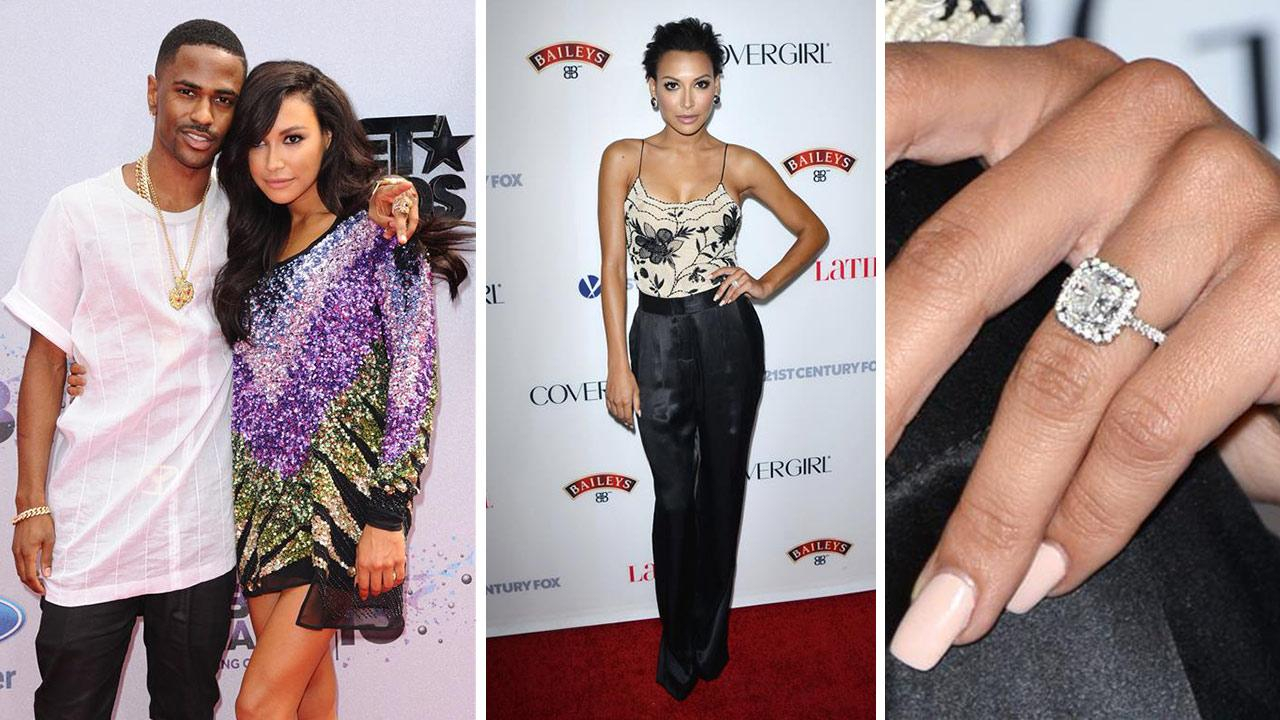 Big Sean and Naya Rivera from Glee attend the 2013 BET Awards at the Nokia Theatre L.A. Live in Los Angeles in June 30, 2013. / Naya Rivera, wearing an engagement ring, attends LATINA Magazines Hollywood Hot List event in Los Angeles on Oct. 3, 2013.