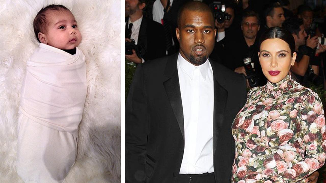 Kim Kardashians and Kanye Wests daughter, North West, is seen in this photo posted on Kardashians Instagram page on Oct. 4, 2013. / Kim Kardashian and Kanye West at the PUNK: Chaos To Couture Costume Institute Gala on May 6, 2013.