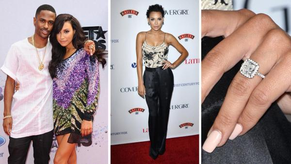 Big Sean and Naya Rivera from 'Glee' attend the 2013 BET Awards at the Nokia Theatre L.A. Live in Los Angeles in June 30, 2013. / Naya Rivera, wearing an engagement ring, attends LATINA Magazine's 'Hollywood Hot List' event in Los Angeles on Oct. 3, 2013.