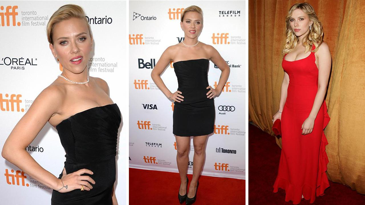 Scarlett Johansson attends the premiere of Don Jon at the Toronto Film Festival on Sept. 10, 2013. / Scarlett Johansson attends a Golden Globes after party hosted by the Weinstein Company, Glamour Magazine and Loreal on Jan. 16, 2006.