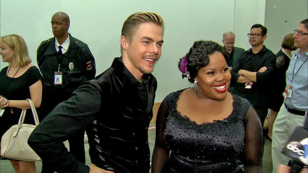 Amber Riley and Derek Hough talk to OTRC.com after week 4 on Dancing With The Stars on Oct. 7, 2013.