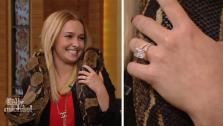 Hayden Panettiere wears her engagement ring and a snake on LIVE! with Kelly and Michael on Oct. 9, 2013. She is engaged to Ukranian boxer Wladimir Klitschko. - Provided courtesy of WABC