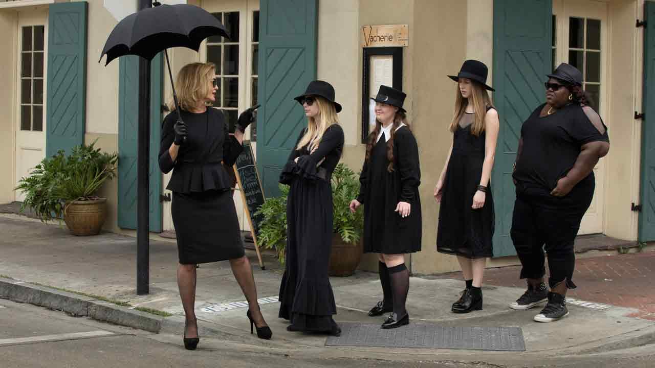 Jessica Lange, Emma Roberts, Jamie Brewer, Taissa Farmiga and Gabourey Sidibe appear in a promotional still from American Horror Story: Coven.
