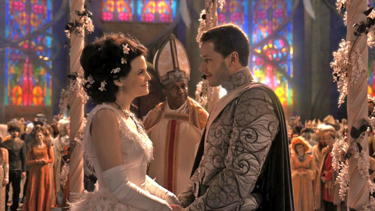 Ginnifer Goodwin and Josh Dallas appear as Snow White and Prince Charming in a scene from the pilot of the ABC show Once Upon A Time in 2011.