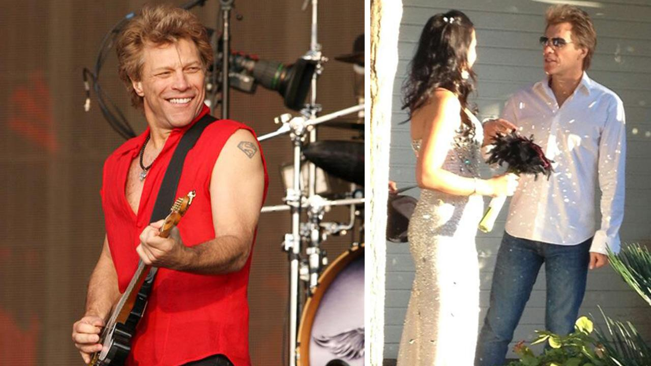 Jon Bon Jovi performs with Bon Jovi at the 2013 Barclaycard British Summer Time Concert in London on July 5, 2013. / Jon Bon Jovi appears with bride Branka Delic on her wedding day on Saturday, Oct. 12, 2013, as seen in her Twitter profile picture.