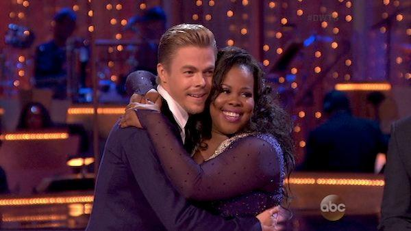 Amber Riley and her partner Derek Hough appear on Dancing With The Stars season 17 on Oct. 14, 2013. - Provided courtesy of ABC