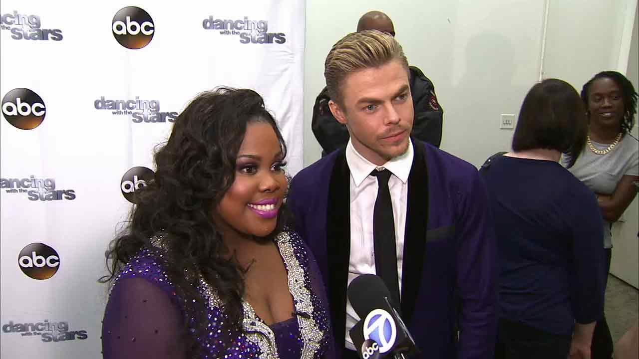 Amber Riley and Derek Hough talk to OTRC.com after week 5 on Dancing With The Stars on Oct. 14, 2013.