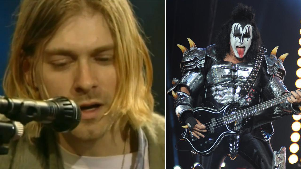 Kurt Cobain performs on MTV Unplugged in New York in 1994. / Kiss bass guitarist Gene Simmons performs with Kiss at Verizon Wireless Amphitheater in Irvine, California on Aug. 14, 2012.