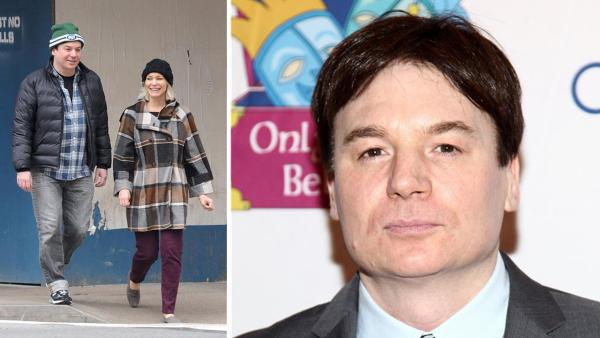 Mike Myers and his wife, Kelly Tisdale, walk on a street in New York on Nov. 2, 2012. / Mike Myers appears at the 12th annual gala and performance of the play 'Make Believe on Broadway' in New York on Nov. 14, 2011.