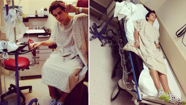 Austin Mahone is seen on a hospital bed in these Instagram photos he and his mother Michele shared on Oct. 17, 2013. He was hospitalized with flu symptoms. - Provided courtesy of instagram.com/austinmahone / instagram.com/michelemahone