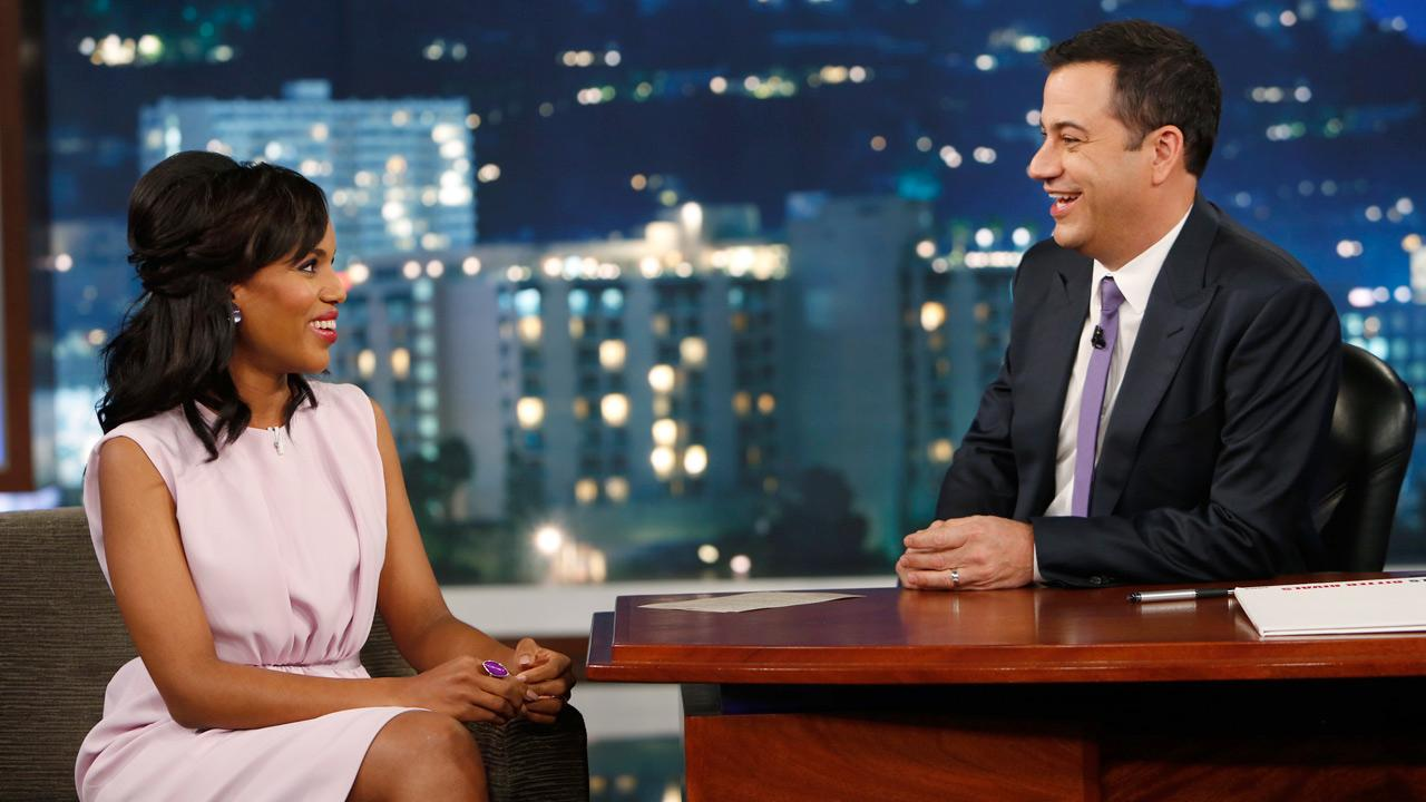 Kerry Washington appears in an interview on Jimmy Kimmel Live! on Oct. 17, 2013.