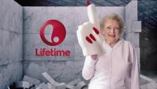 Betty White appears in a 2013 parody video of Miley Cyrus Wrecking Ball clip, aiming at promoting Off Their Rockers, which moved from NBC to Lifetime Television. - Provided courtesy of none / A + E networks