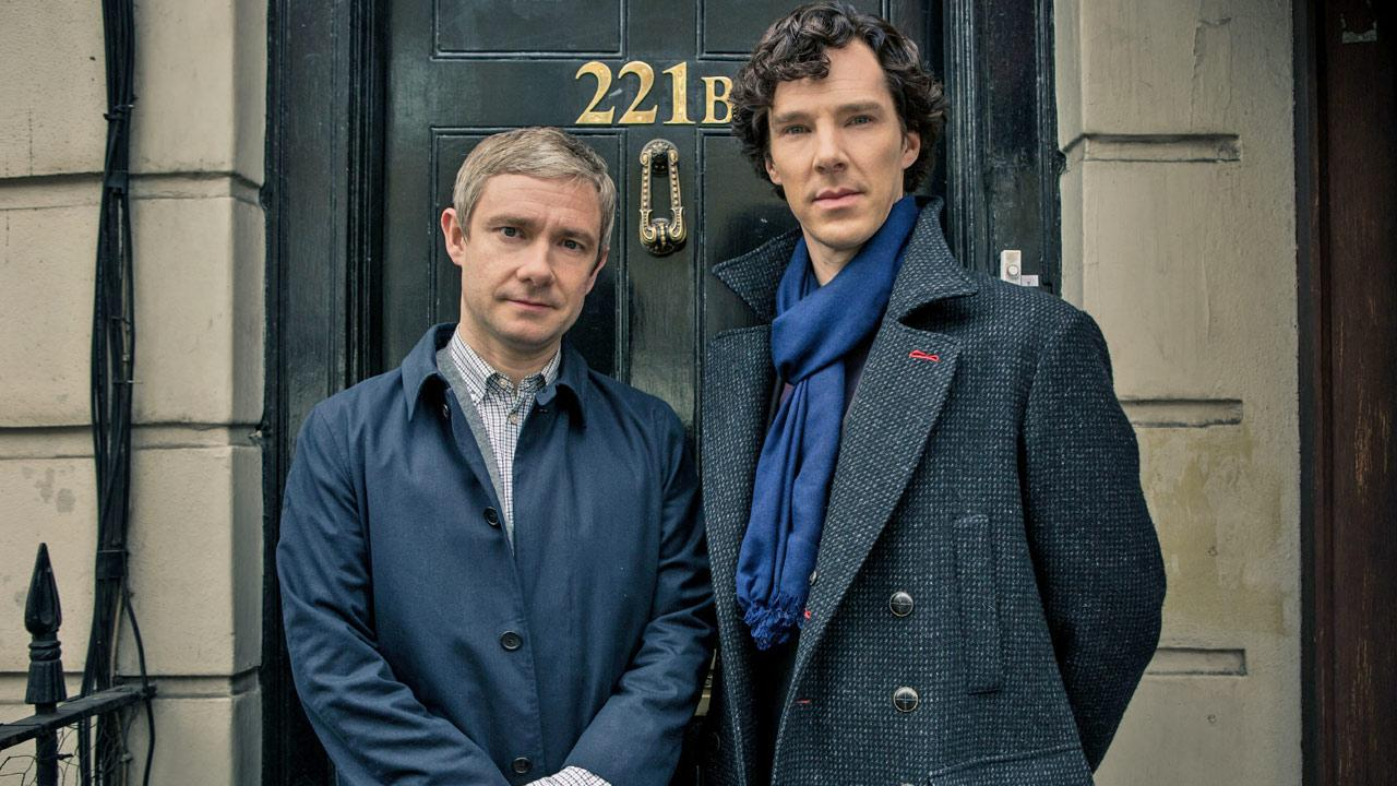 Benedict Cumberbatch and Martin Freeman appear in an undated 2013 promotional photo for season 3 of Sherlock.