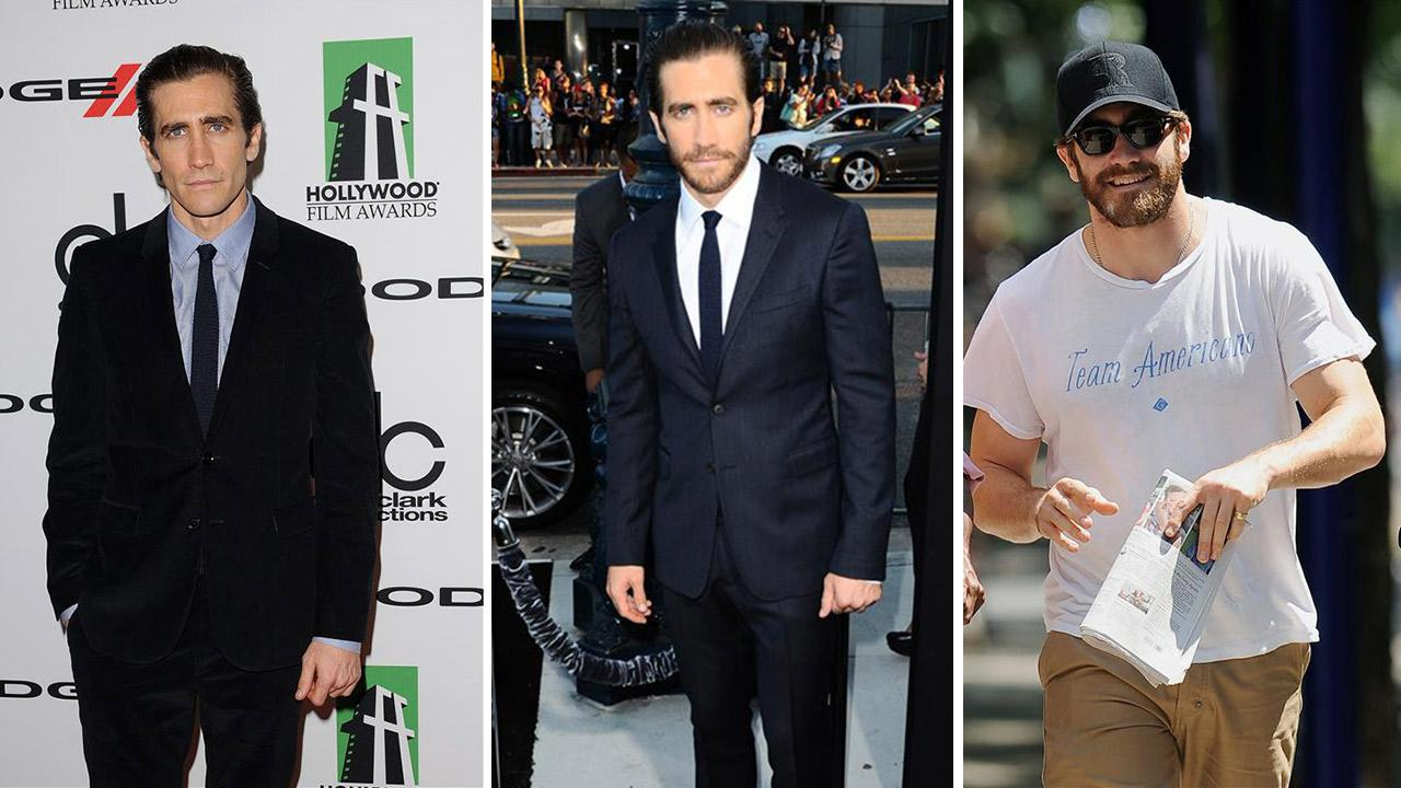 Jake Gyllenhaal appears at the 17th annual Hollywood Film Awards on Oct. 21, 2013. / Jake Gyllenhaal appears at the premiere of Prisoners in Los Angeles on Sept. 12, 2013. / Jake Gyllenhaal appears in New York City on June 29, 2013.