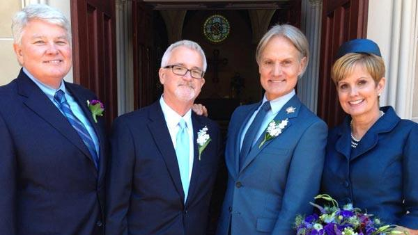 Monte Durham of 'Say Yes to the Dress: Atlanta' wed fiance Jakob Evans on Oct. 18. This photo of the two with his co-star Lori Allen and an unidentified guest was posted on the TLC show's Facebook page days later.