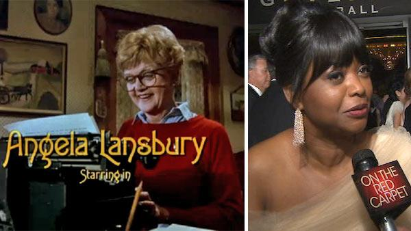 Angela Lansbury appears in the opening credits of the show Murder, She Wrote, which aired between 1984 and 1996. / Octavia Spencer talks to OTRC.com before entering the Governors Ball after the 2013 Oscars. - Provided courtesy of OTRC / CBS / Universal Television