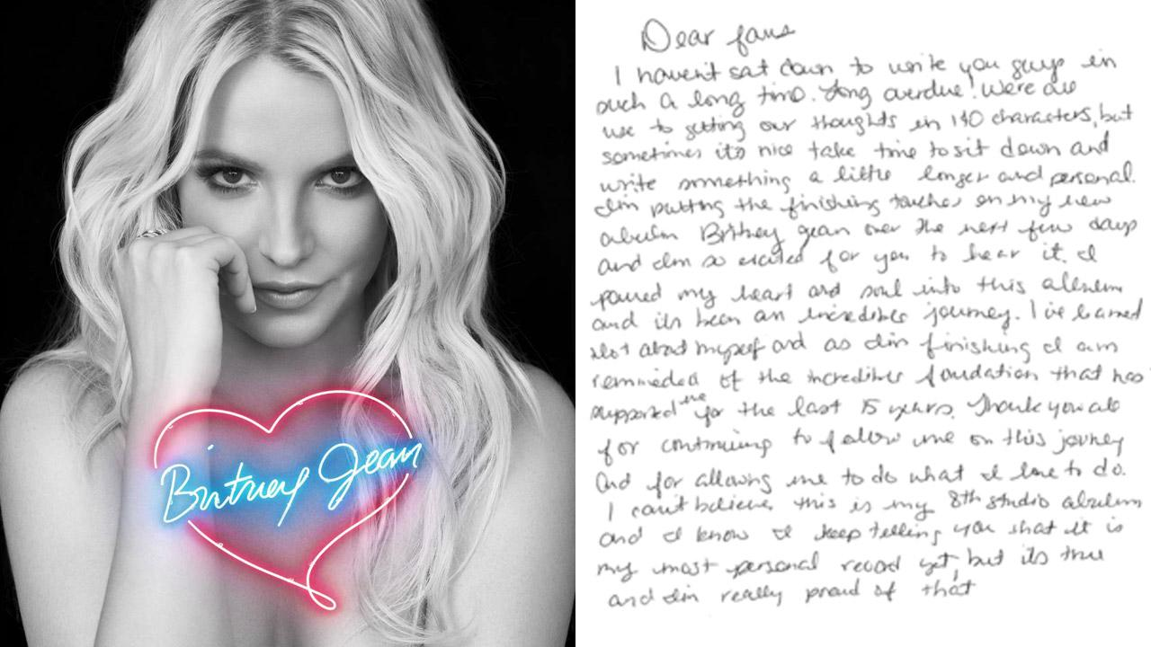 Britney Spears appears on the cover of her 2013 album Britney Jean. / The first page of a letter Spears wrote to fans published on Oct. 25, 2013.
