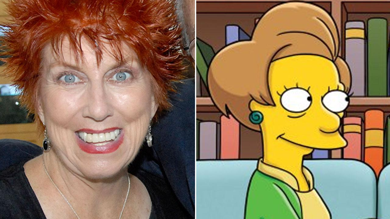 (Left) Marcia Wallace poses at the TV Land 35th anniversary celebration of the Bob Newhart Show in Beverly Hills, Calif. Sept. 5, 2007. (Right) The Simpsons character Edna Krabappel, appears in a photo from the animated shows Facebook page.